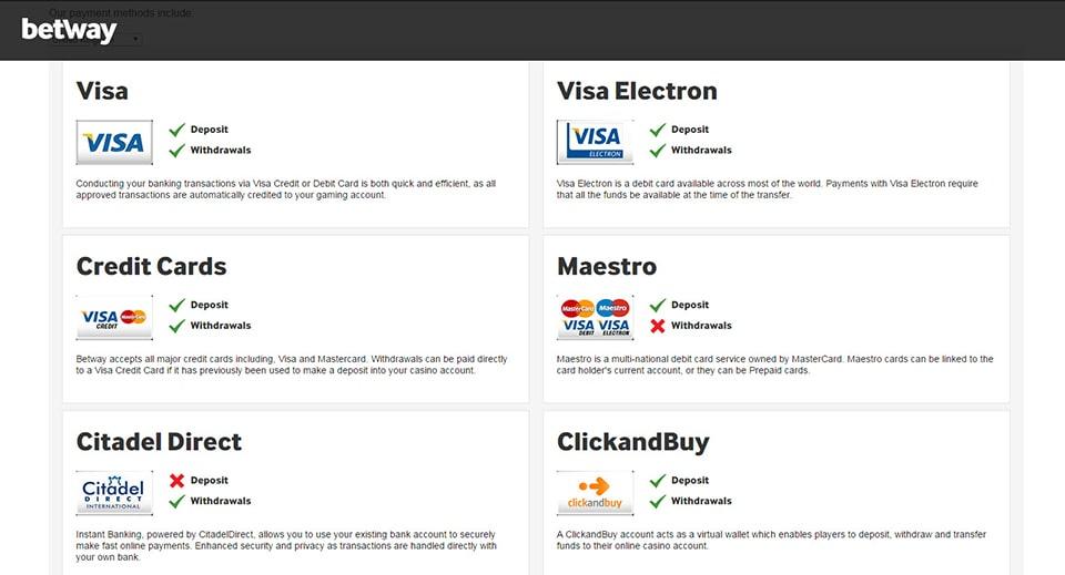 Credit/Debit Cards -betway-